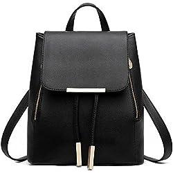 Bolsa de hombro del recorrido del bolso de escuela de la PU de las mujeres retro Estudiante Mini Mochila (Negro)