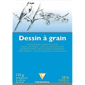 Blanc 125g Trilingue 21x29,7 cm a4 Papier Clairefontaine Clairefontaine-97118C-Un Bloc Dessin A Grain Comprenant 20 Feuilles Format