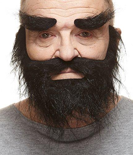 Realistischer schwarzer Trapper fälschen, selbstklebend Bart, Schnurrbart und Augenbrauen