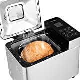 Homgeek Bread Machine Home Bakery Bread Maker with 22 Programmable Menus Setting and 15 Hours Preset, 3 Crust Colors, 1000g Capacity , Black+Silver