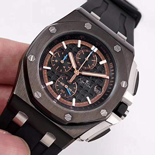 IWHSB Luxusmarke automatische Armbanduhren Quarz Chronograph Saphir Wasserdicht Edelstahl Schwarz Gummi Rotgold Silber Leuchtende Stoppuhr Gold Zifferblatt Vollschwarz