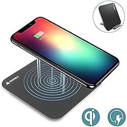 Cargador Inalámbrico Rápido, Wofalo 2 en 1 Soporte Almohadilla Qi Cargador Portátil Dock Con Carga Rapida 10W para Samsung Galaxy S8/S8 Plus/S7/S7 Edge/S6 Edge Plus Estándar 5W para iPhone8/8 Plus,iPhone X y Todos Móviles con QI (Negro)