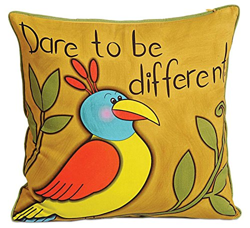 12-zoll-kissen (Yuga 100% Baumwoll-Twill Indian Sofa Kissen Bezug Vogel Printed Dekorative Kissen - 12 x 12 Zoll)