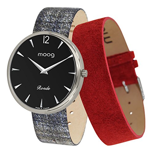 Moog Paris Ronde Classic Women's Watch with Black Dial, Eclectic Strap in Genuine Leather - M41672-C12