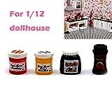 HIilai 4pcs / Lot Mini Coffee Jam-Spielzeug für 1:12 Scale Puppen Miniatur-Spielzeug-Puppe-Nahrungsmittelküche Zubehör für Baby