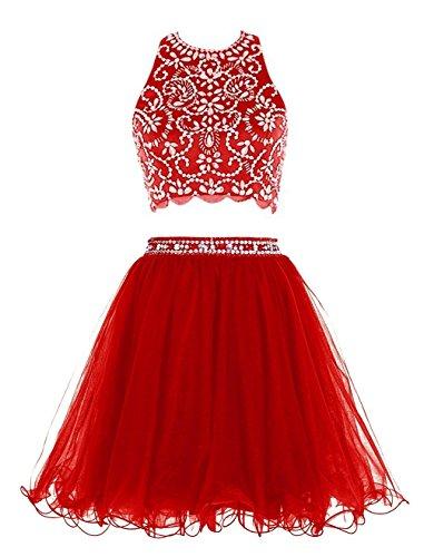Fanciest Damen Beaded Two Pieces 2016 Kurz Abendkleider Heimkehr Kleider for Juniors Red