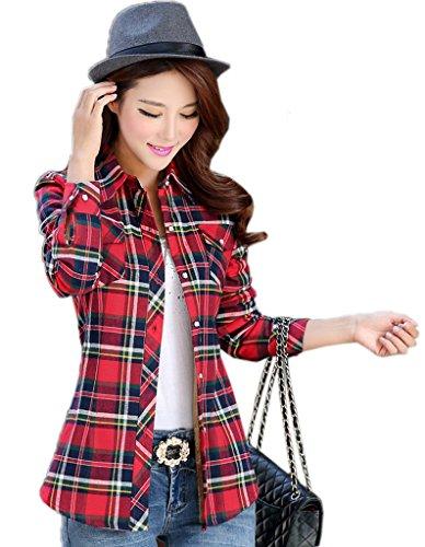 Bigood Femme Fashion Blouse Avec Velours Carreaux Chemise Slim Epais Manches Longue Rouge Jaune Vert