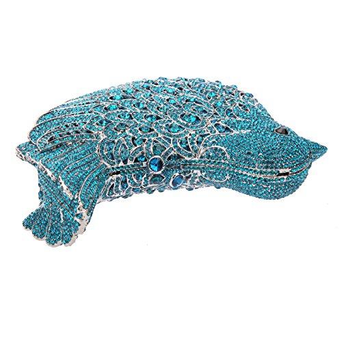Bonjanvye Glitter Rhinestone Bird Clutch Purses Evening Clutch Bag for Girls Rose Gold pure blue