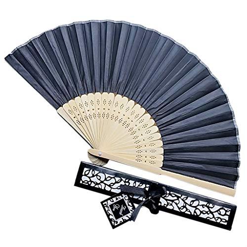 TriLance Folding Fans Hochzeitsgeschenkbox Hochzeitsgeschenk Fan Tray Paar Geschenk Hochzeit elegante Fan Box, Hochzeitsgeschenkbox Geschenk Fan Tray Karton Paar Geschenk Volltonfarbe (Black) (Tango Leistungs Kostüm)