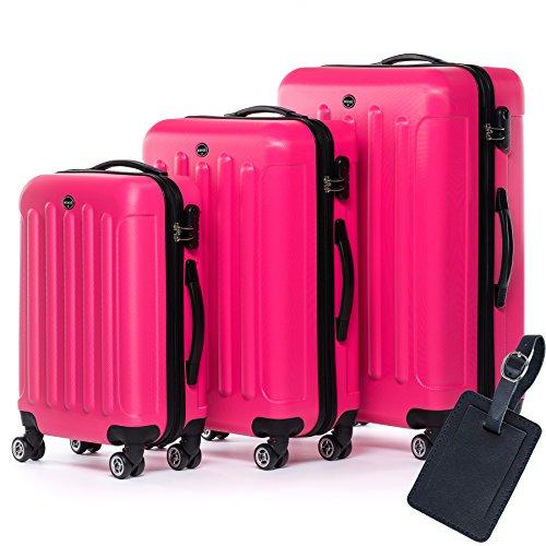 FERGÉ Dreier Kofferset Leder Adressanhänger LYON Trolley-Koffer leicht Reisekoffer NEU | Set 3-teilig Hartschalenkoffer 4 Zwillingsrollen (360°) | Koffer...
