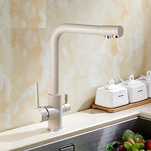 YUCH Kupfer-Grill Porzellan warmes und kaltes Wasser Filter Wasserhahn in der Küche Spüle Wasserhahn gedreht Doppel Steckdose
