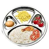 Piatto con divisori in acciaio inox Teerfu: set di 2vassoi, ideale per campeggio, pranzo e cena per bambini o uso quotidiano 29.97 cm Silver