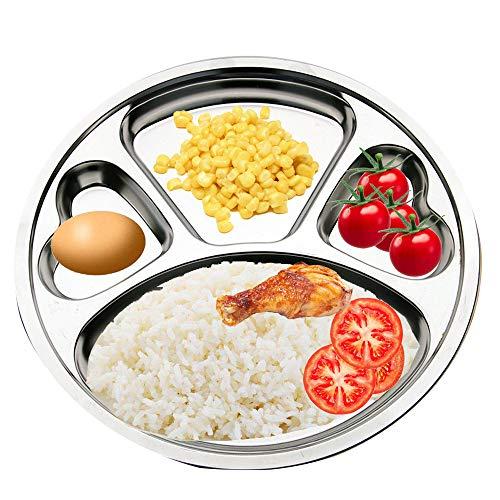 Unterteilte Teller aus Edelstahl von Teerfu:2er-Set Kantinen-Tabletts, ideal für Camping, Kinderessen,oder für den täglichen Gebrauch 29,97cm silber (Kantine-set)
