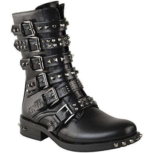 Ladies Studded Buckle Ankle Boots