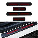 Protectores de Umbral de la Puerta del Coche para Civic CR-V NSX Jazz HR-V 4D Vinilo Fibra de Carbono Adhesiva Pegatinas Rojo 4 Piezas