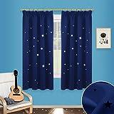 Sterne Verdunkelungsvorhänge mit Kräuselband - PONY DANCE 1 Paar ausgestanzt flackern Vorhänge Blickdicht Gardine für Baby, Kinderzimmer Vorhang, Thermo isoliert 137 cm x 116 cm (H x B), Blau