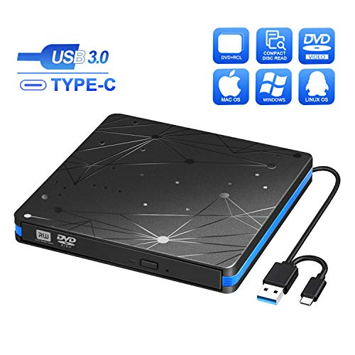 Lecteur CD/DVD Externe USB 3.0 et Type-C, BlueFire Graveur DVD Externe Portable Ultra Slim Lecteur CD Externe pour Windows XP/7/8/10/Vista/Linux, Mac OS Laptops PC