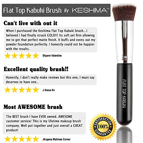 Flat Top Kabuki Brush By Keshima - Premium Foundation Brush, Buffing Brush, Blending Brush, Face Brush