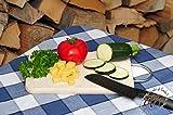 Schneidebrett Buche - SPÜLMASCHINENFEST '*' , Frühstücksbrett, Schneidbrett Picknick-Holz groß, massive Holz-Picknick-Set / Picknicksets, hochwertiges ca. 16 mm starkes Picknick-Holzbrett rund D ca. 20 cm / abgerundete Kanten, Holzbrettchen groß rund, klassisch mit Chromhenkel natur, Maße viereckig ca. 22 cm x 11 cm als Bruschetta-Servierbrett, Brotzeitbrett, Bayerisches Brotzeitbrettl, NEU MASSIVE Picknick-Set Schneidebretter