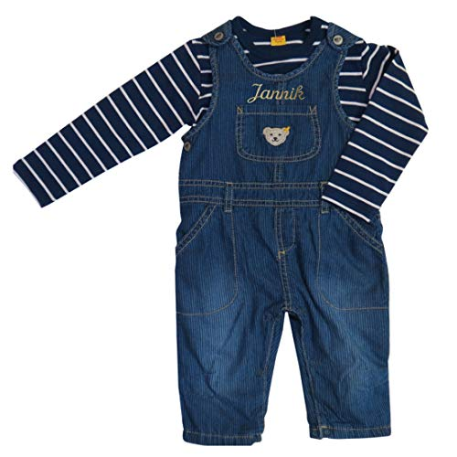 Navy Langarm Denim-shirt (Steiff Bekleidungs-Set mit Namen bestickt aus Jeans-Latzhose und Langarm Ringel-T-Shirt mit Teddybären-Applikation dunkelblau shades of blue (68))