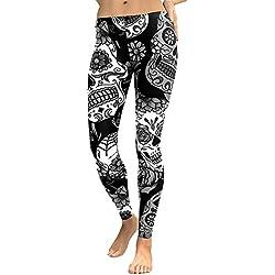 Cebbay Pantalones Yoga Mujeres Leggins de Fitness para Mujer Liquidación Pantalones Chandal Deportivos con Estampado de Esqueleto Calaveras Mallas Ropa Running (Negro, Large)