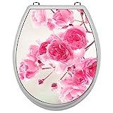 SHIRT-TO-GO Aufkleber für Toilettensitz Klodeckel Aufkleber WC Sitz Aufkleber - Motiv Rosenblüten