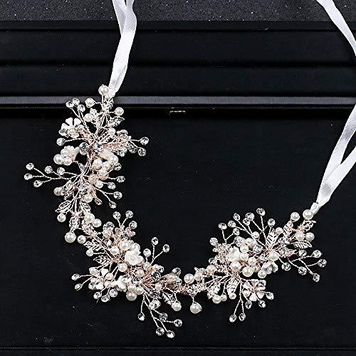 ZYFS Silber Kristall Braut Stirnbänder Perle Blume Hochzeit Haarschmuck Stirnband Braut Tiara Kopf Bandage Gold/Rose Gold Schmuck,Rose Gold -