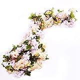 Packung mit 3 Girlanden aus künstlichen Rosenranken mit grünen Blättern, 160 cm, zum Dekorieren zu Hause und bei einer Hochzeit. Yh-champagne