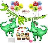 Mattelsen Decoración de Cumpleaños Dinosaurios 3D Happy Birthday Banner, Globos Helio Gigante con...
