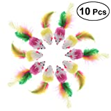 #2: 10 PCS Furry Pet Toys Mice Cat Toy Mouse Cat Catcher Toys with Feather Tails