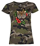 Damen T-Shirt Camouflage Camo-Shirt Tiger Tropical Palmblätter Sommer Stick-Patch-Optik Tarnmuster Moonworks® Schwarz M
