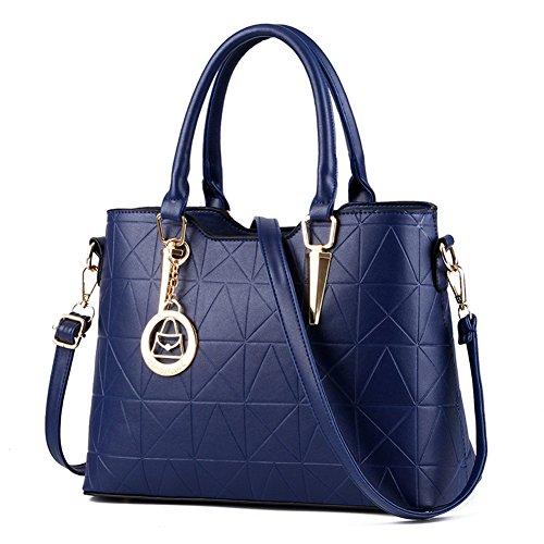 fanhappygo Frauen PU Leder Handtaschen Schultertaschen Tasche Handtasche Umhängetasche Schulter Beutel Reißverschluss Messenger Hobo Bag marineblau