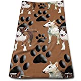 vintage cap Bull Terriers and Paw Kitchen Towels - Dish Cloth - Machine Washable Cotton Kitchen Dishcloths,Dish Towel & Tea Towels for Drying,Cleaning,Cooking,Baking (12 X 27.5 Inch)