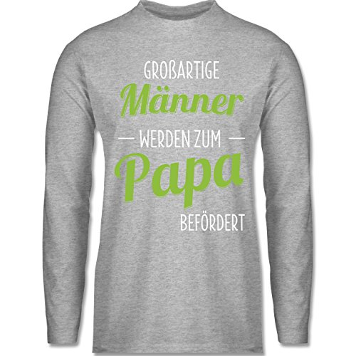 Shirtracer Vatertag - Großartige Männer Werden Zum Papa Befördert - Herren Langarmshirt Grau Meliert