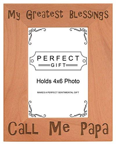 Opa Geschenk Blessings Call Me Papa natur Holz Gravur Bilderrahmen, holz, holz, 4x6 Vertical
