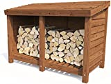 "Wood Store Log Storage Outdoor Firewood Wooden Kindling Garden Shed - Dunster House® (W6' 0"" x D3' 0"")"