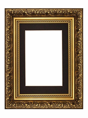 Memory Box - Poster Stile Barocco Francese con passepartout e Decorazioni in Stile Anticato - m-fr-Baroque-Parent, Gold Frame with...