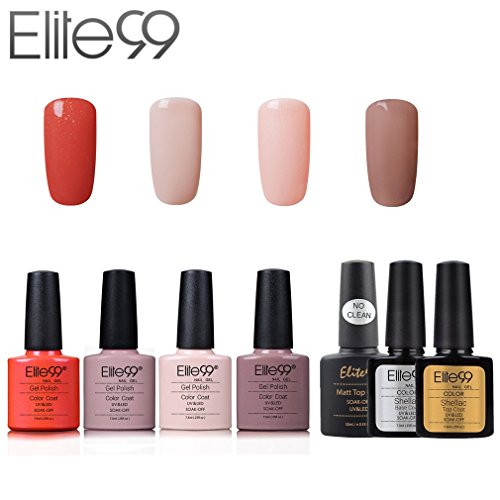 Elite99 Esmalte de Uñas Semipermanente Uñas de Gel UV LED Kit de Manicura 7pcs con Base Coat Top Coat...