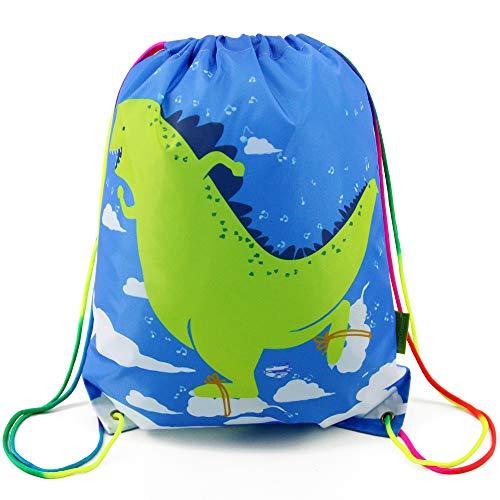 BeeGreen Turnbeutel Kinder Dinosaurier Rucksack Strandtasche für Kindergarten Junge Mädchen DinoGymsack Sportbeutel, Kindergeburtstag Geschenk, Drawstring Bag Digital Backpack Kit