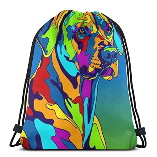 Estrange Multi Color Rhodesian Ridgeback Dog 3D Print Drawstring Backpack Rucksack Shoulder Bags Gym Bag for Adult 16.9