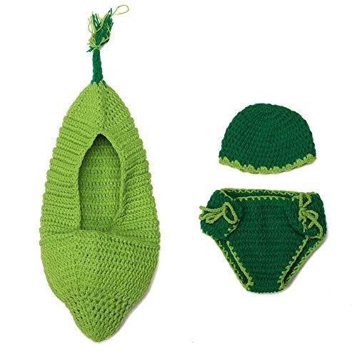 NaiCasy Neugeborene Fotografie Kostüm Nette Karikatur-grüne Bohnen Schlafen Hut und Hosen-Baby Crochet Strick Outfit Kostüm Lustiger Entwurf Foto Props für ()