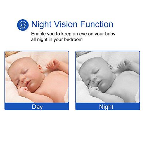 GHB Baby Monitor Video Baby Monitor with Camera Wireless Baby Monitor 2.0″ LCD Display Baby Lullaby Night Vision Temperature Monitoring 2 Way Talk