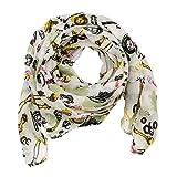SCHLUSSVERKAUF: ManuMar Schal Uhren weiß gelb schwarz Schal Damen Schal Tuch Sommer Frühling Geschenk Freundin Damen