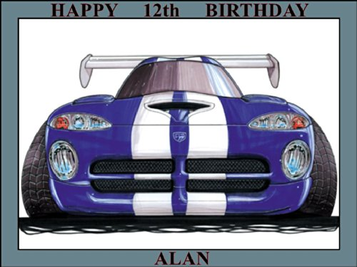 "Price comparison product image 226 - CHRYSLER DODGE VIPER BLUE WHITE STRIP KOOLART (0226) PERSONALISED 10"" X 7.5"" ICING CAKE TOPPER - ANY NAME, AGE OR MESSAGE - USE THE GREETING MESSAGE BOX JUST FOR THE MESSAGE TO GO ON THE CAKE TOPPER WHEN YOU CHECK OUT OR EMAIL ME WITH THE MESSAGE"