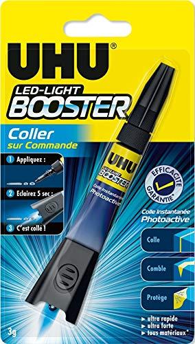 UHU Booster - Pegamento activado por UV, tubo de 3 g, transparente