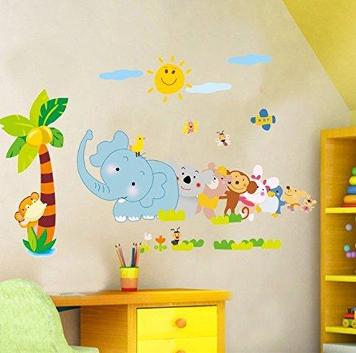 Zooarts mundo animal elefante mono cola extraíble adhesivo de pared vinilo adhesivos decoración Niñas Niños Salón Dormitorio Mural