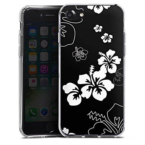 Apple iPhone X Silikon Hülle Case Schutzhülle Blumen Schwarz Weiß Muster Silikon Case transparent