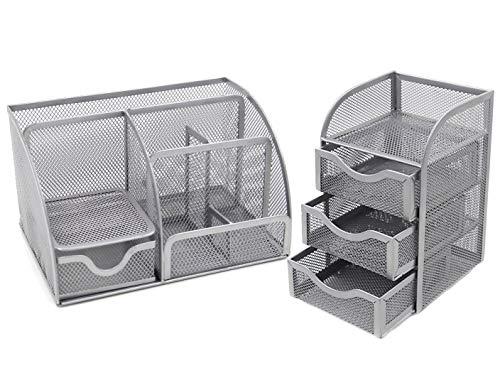 easypag Mesh Schreibtisch Organizer 6Komponente Zubehör Cady + 3Schublade Mini Stall Silver. - Sammlung Bleistift Schublade
