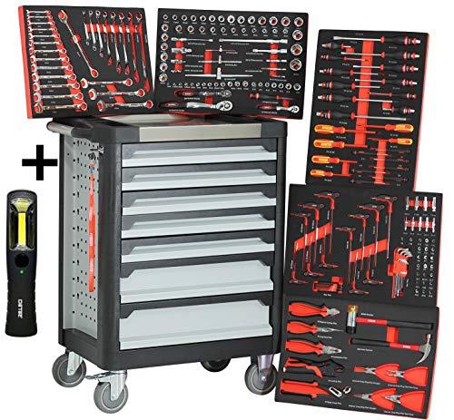 Ultra Edition Werkstattwagen | 7 Schubladen - 5 gefüllt mit Handwerkzeug | Werkzeugwagen abschließbar + COB Akku Arbeitsleuchte