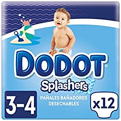 Dodot Splashers - 4 Paquetes de 12 Pañales Bañadores Desechables, 6-11 kg, No Se Hinchan Y Fácil de quitar, Talla 3